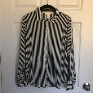 Black & White Striped Button Up Shirt
